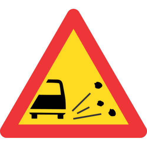 TW338 - Temporary Loose Stones Road Sign
