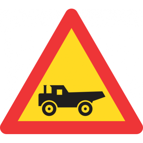 TW345 - Temporary Construction Vehicles Crossing From Right Road Sign