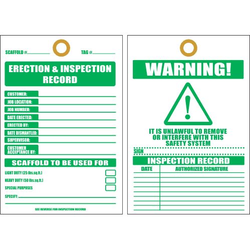 STI4 - Erection And Inspection Record Tag