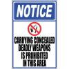 SE14 - Notice Carrying Concealed Weapons Sign