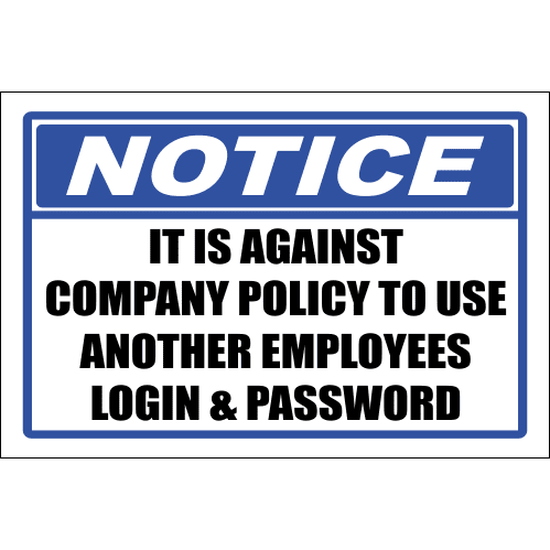 SE28 - Notice Login And Password Sign