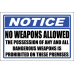 SE45 - Notice No Weapons Allowed Sign