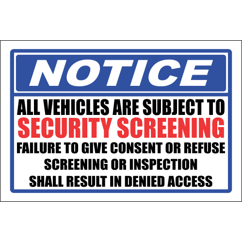 SE75 - Notice Security Screening Sign