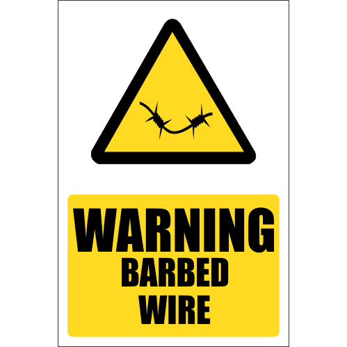 SE24 - Warning Barbed Wire Sign