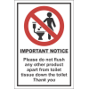 T19 - Don't Flush Products Sign