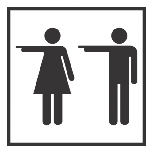 T57 - Toilets Left Sign