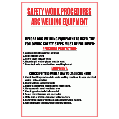 WF12 - Arc Welding Equipment Sign