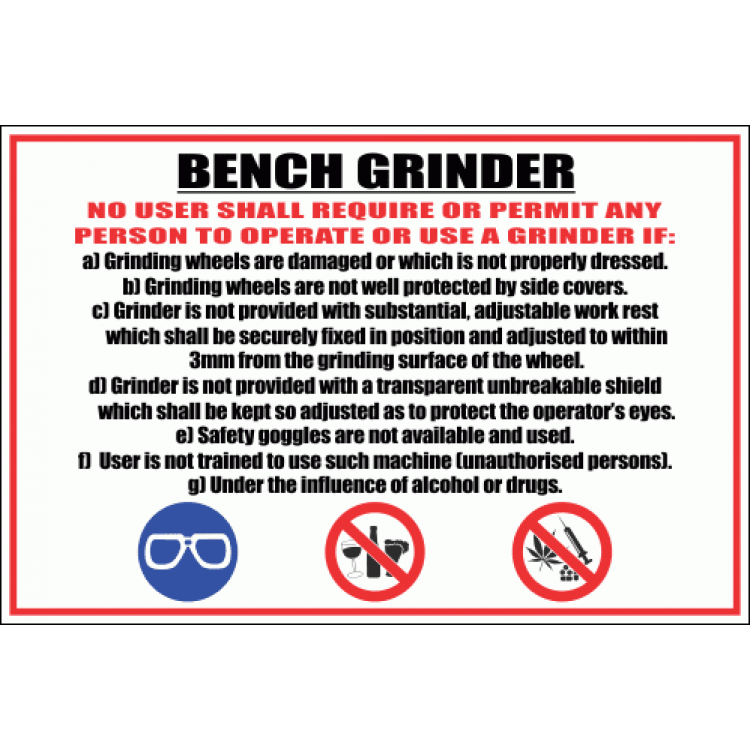 Peachy Wf1 Bench Grinder Sign Safety Signs Equipment Online Bralicious Painted Fabric Chair Ideas Braliciousco