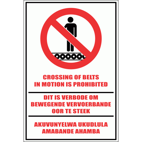 WF32 - Crossing of Belts Prohibited Sign