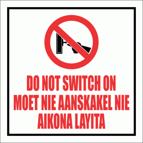 WF19 - Do Not Switch On Sign