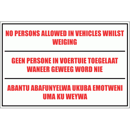 WF15 - No Person In Vehicle Sign