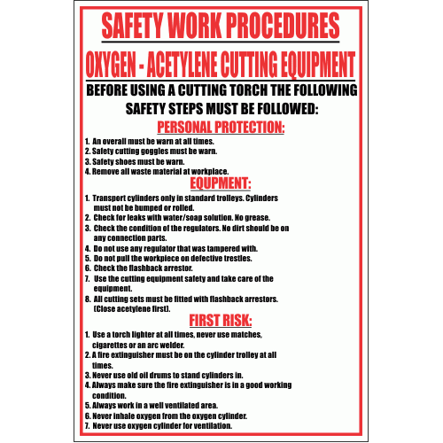 WF10 - Oxygen - Acetylene Cutting Equipment Sign