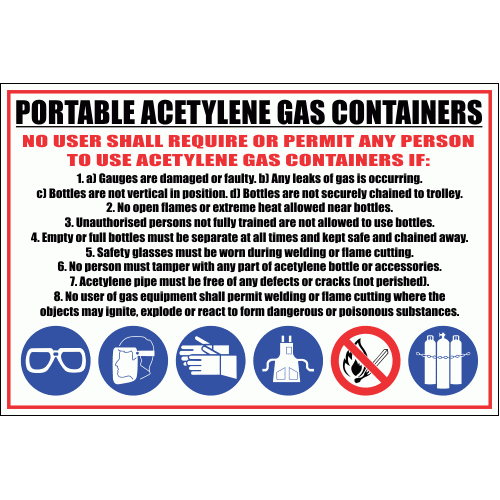 WF4 - Portable Acetylene Gas Container Sign